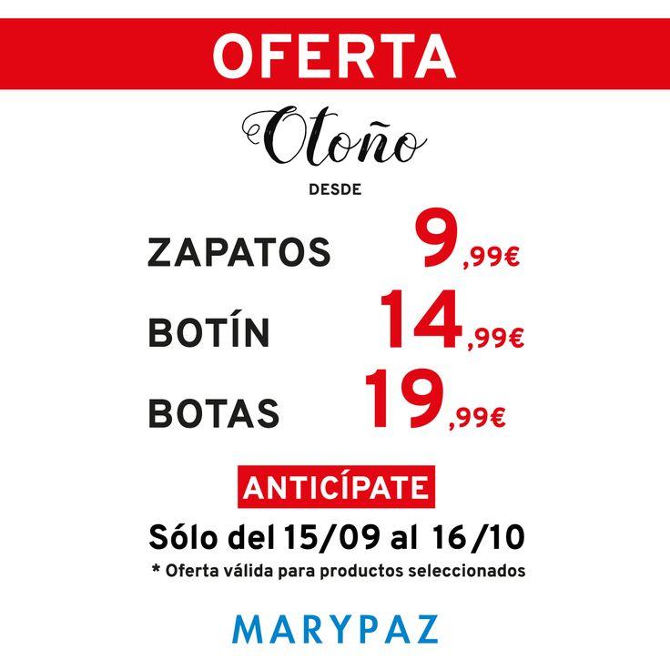 ¿¿Te vas a perder la oferta de otoño by MARYPAZ?? Nos alegra deciros que ampliamos la oferta unos días más ¡¡HASTA EL 16/10/16!!  👏 👏 👏   🍂 🍂 🍂 ¡¡¡ OFERTA DE OTOÑO BY MARYPAZ DESDE 9,99€ !!! 🍂 🍂 🍂  #Follow #shoesobssession #love #otoño #fashion #obsesionadaconloszapatos #colour #obsesion #tendencias #marypaz #locaporlamoda #BFF #igers #moda #zapatos #trendy #look #itgirl #igersoftheday #girl #autumn  Disponibles en tiendas seleccionadas y en MARYPAZ.COM