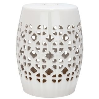 Safavieh Paradise Tranquility White Ceramic Garden Stool   Overstock.com Shopping - The Best Deals on Garden Accents
