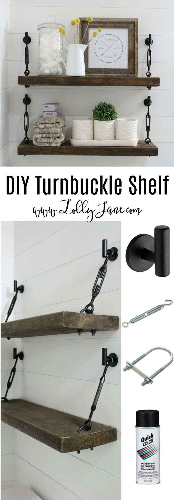 DIY Turnbuckle Shelf tutorial | Learn how easy it is to make these bathroom turnbuckle shelves! These would be so cute in any room of the house, farmhouse chic shelves look great and are sturdy enough for all your home decor needs!