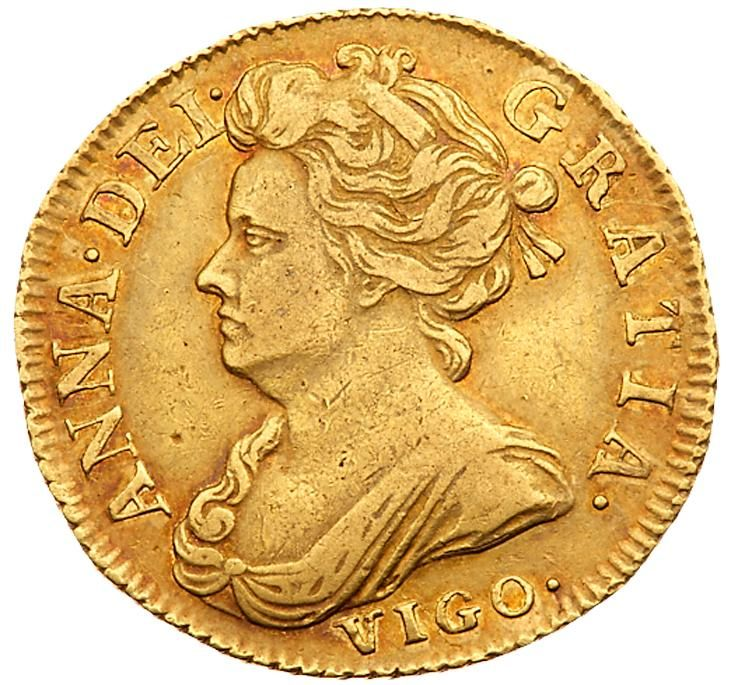 Anne (1702-14), gold Pre-Union Half-Guinea, 1703 Anne (1702-14), gold Pre-Union Half-Guinea, 1703. VIGO. below draped bust left, Latin legend and toothed border surrounding, ANNA.DEI. GRATIA. rev. Pre-Union crowned cruciform shields, scepters in angles, rose at center, date either side of top crown.MAG BR. FRA ET. HIB REG. weight 4.13g (Schneider 527; MCE 228; S 3565; Fr 324; KM 510.2). Light red tone, some tiny nicks and marks, with a good clear face, reverse better, in PCGS holder graded…