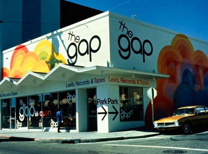 First Gap store location, Ocean Avenue in San Francisco, California, 1969.