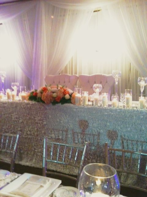Beautiful head table and stunning backdrop created by @Nikki Proietto