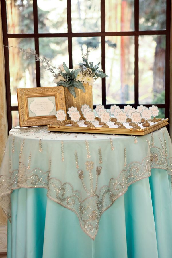 Aqua Gold Wedding Guest Check In Table