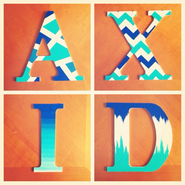 Alpha Xi Delta painted wooden letters