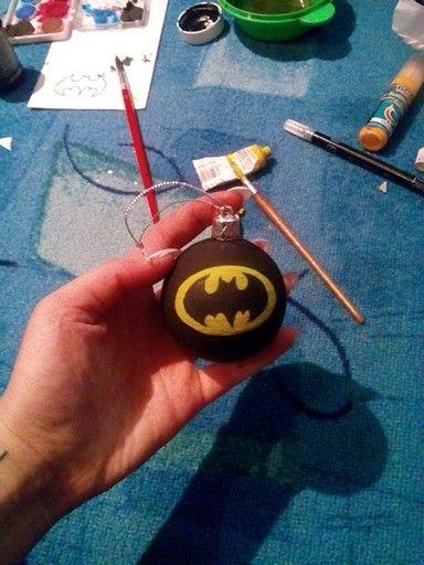 Batman gömb hógömb fekete sárga karácsony diy 2015