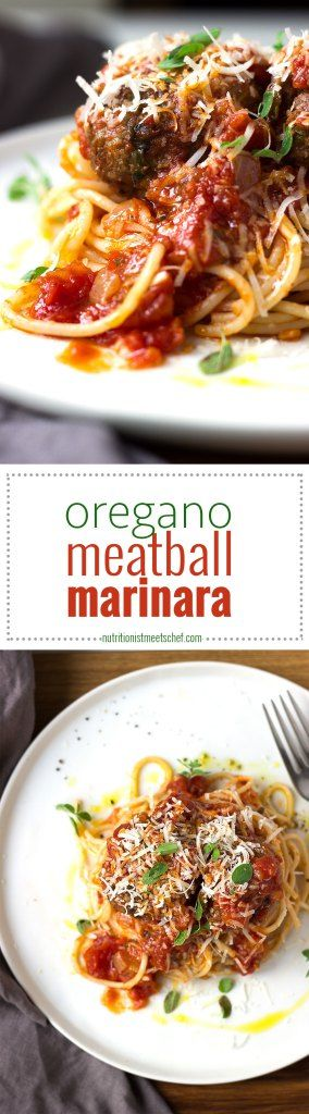 Oregano Meatball Marinara! A delicious dinner that's a winner everytime! See more at nutritionistmeetschef.com