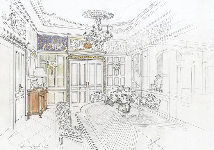 Эскиз столовой комнаты. #дизайн интерьера квартиры#интерьер загородного дома дизайн#дизайн-проект интерьера#дизайн интерьера в классическом стиле#эскизы интерьеров от руки#
