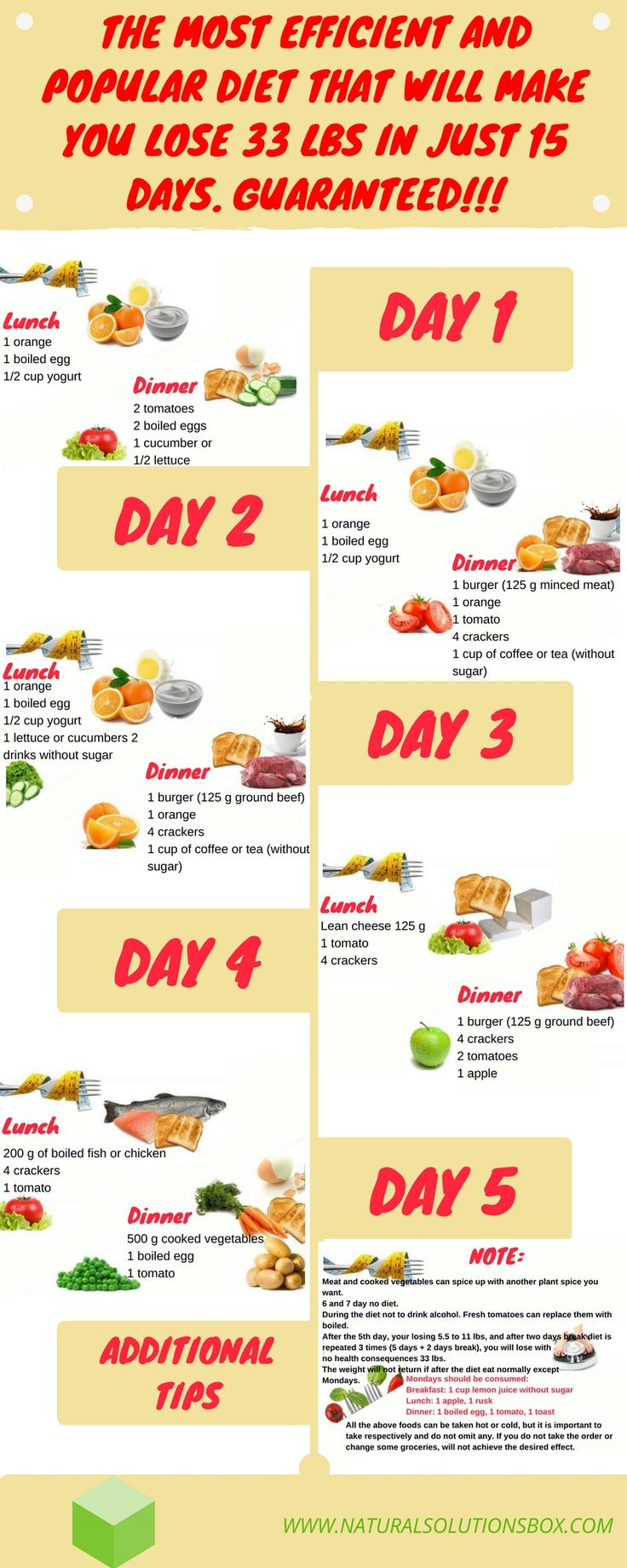 Breakfast is the same throughout the 15 days, and consists of 1 fruit (orange, pear, peach, yellow melon, watermelon, exclude banana and grapes) crackers, a cup of coffee or tea without sugar.