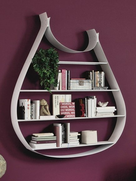 Open floating steel #bookcase SWING by Cattelan Italia #books #colour