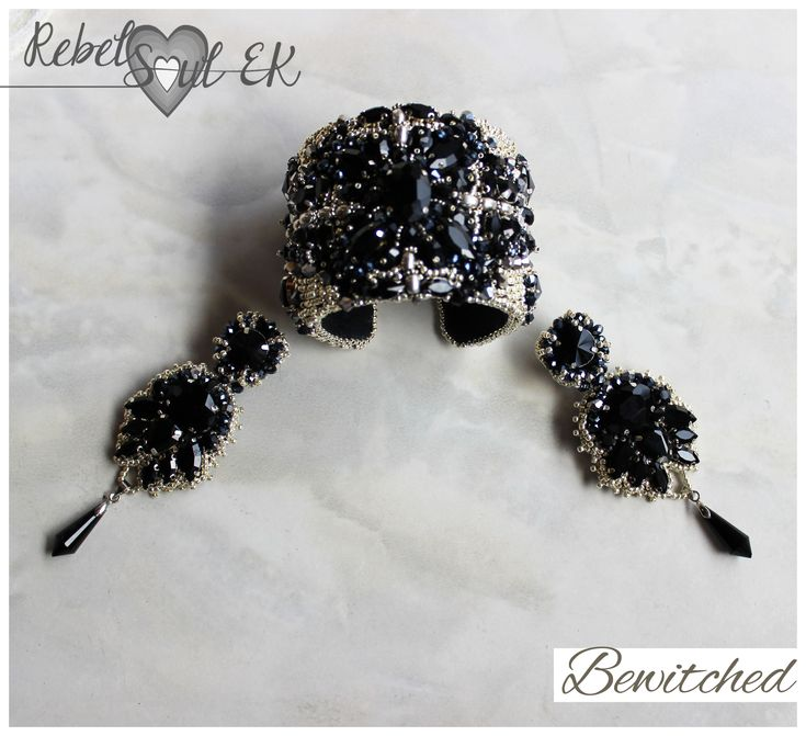 Black crystals statement bracelet, witch jewelry, bead embroidery authentic bracelet, elegant bracelet, wicca bracelet, vampire bracelet