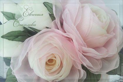 Свадебные украшения ручной работы. Ярмарка Мастеров - ручная работа. Купить Цветы в причёску. Бело-розовые розы.. Handmade. для свадьбы