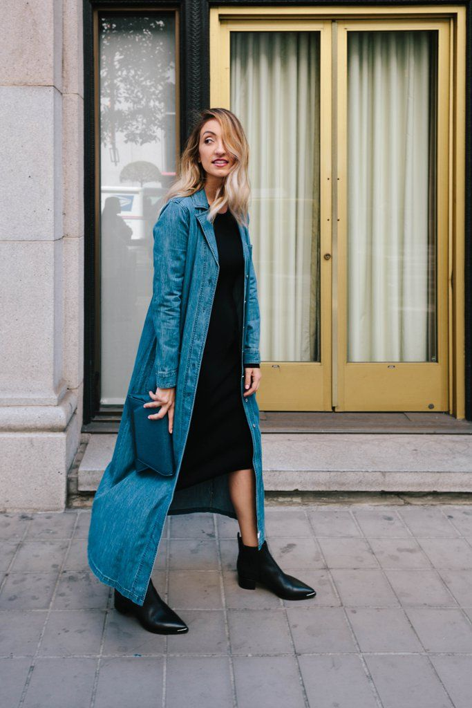 Statement-making leather ankle boots and a denim duster were the perfect way to transform this piece into a...