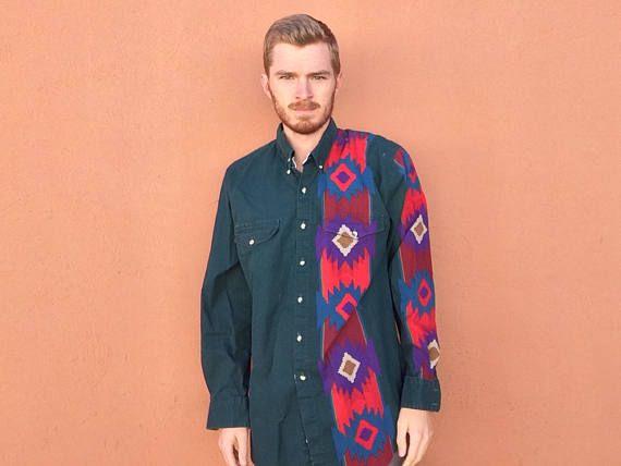 80s Roper Southwestern Tribal Shirt sz XL  Vintage Rodeo