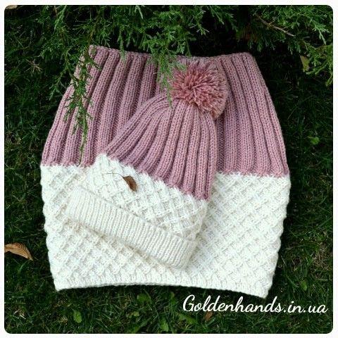 Детский комплект шапка и шарф снуд купить вязаный на заказ