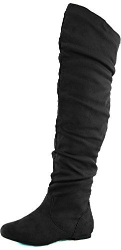 DailyShoes Women's Fashion-Hi Over-the-Knee Thigh High Flat Slouchly Shaft Low Heel Boots Black Suede, 8 B(M) US