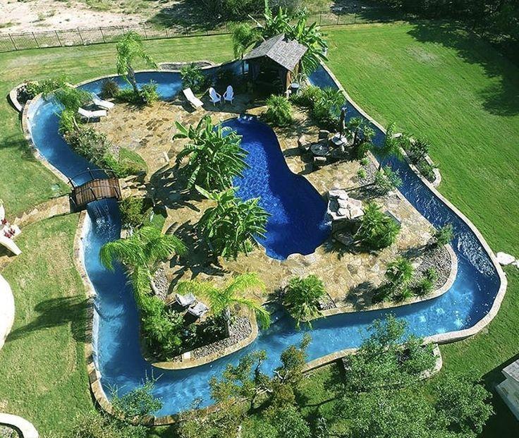 Lazy River Raft Around A Lagoon Backyard Pool Backyard Pool Designs Backyard Pool Pool Landscaping