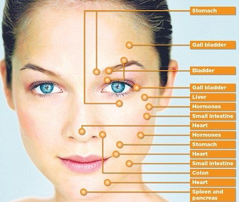 Where acne erupts can tell you a lot about what*s going on in your body? Certain areas of your face are linked to specific organs in your body. If you have acne, matching the areas you most often break out with the corresponding organ can tell you how to focus your efforts nutritionally.