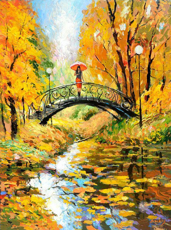 """Wachten - hedendaagse € 236,- Paletmes olieverfschilderij op doek door Dmitry Spiros. Afmeting: 24 """"x 32"""" (60 x 80cm) impressionisme"""