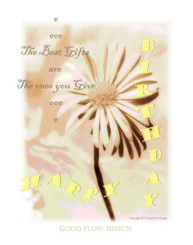 Happy Birthday Card digital download Real Graphic Art, Graphic Work, flower, yellow, sweet, butter by GoodFlowDesign on Etsy