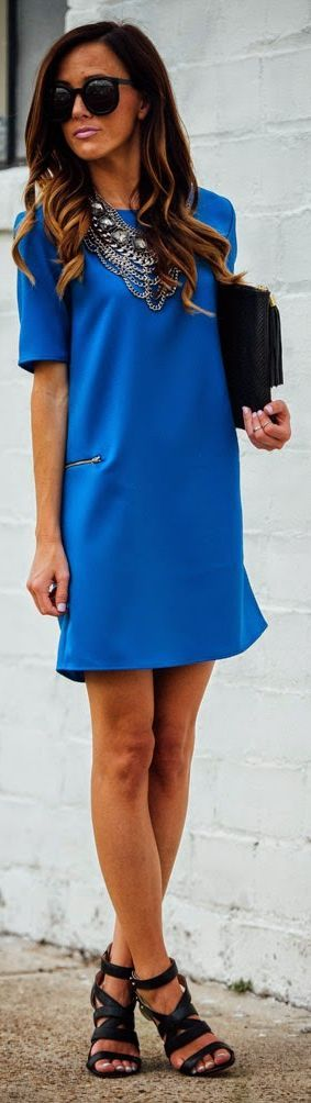 Necessary Clothing Klein Blue Mini Shift Dress by Sequins & Things. Love the simplicity of the hair mixed with the drama of the necklace.