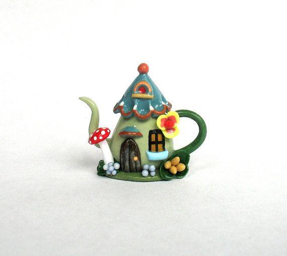 Miniature Whimsical Fairy House Teapot OOAK by C. Rohal