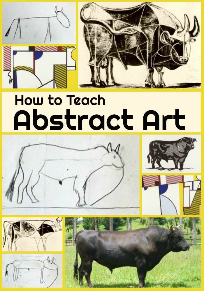How to Teach Abstract Art - Use this abstract art lesson to teach abstract art to your middle school and high school students. Students draw a bull four ways and look at art by the Bull Series' by Pablo Picasso and Roy Lichtenstein to learn the process from realistic to abstract art.