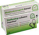 Blutdruckmessgerät Aneroid Premium 2- Schlauch Tasche CE Medi-Inn + Stethoskop (RR + Stethoskop Doppelkopf)