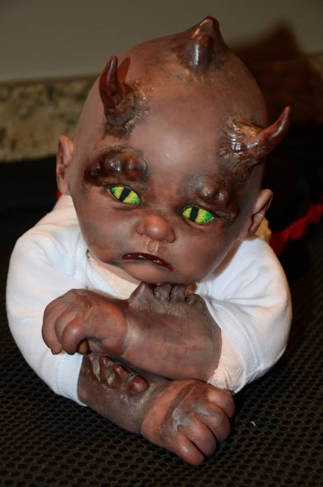 New Ooak Reborn 22 Quot Horned Demon Art Baby Boy Doll Horns
