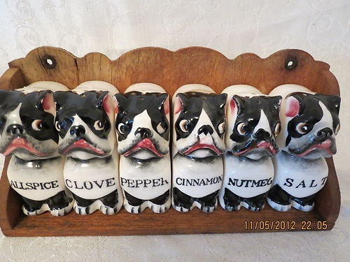 vintage1950s porcelain BULL DOG BOSTON TERRIER SPICE JAR SET wood rack COMPLETE | eBayRacks Complete, Terriers Spices, Spices Jars, Porcelain Bull, Sets Wood, Boston Terriers, Jars Sets, Dogs Boston, Bull Dogs