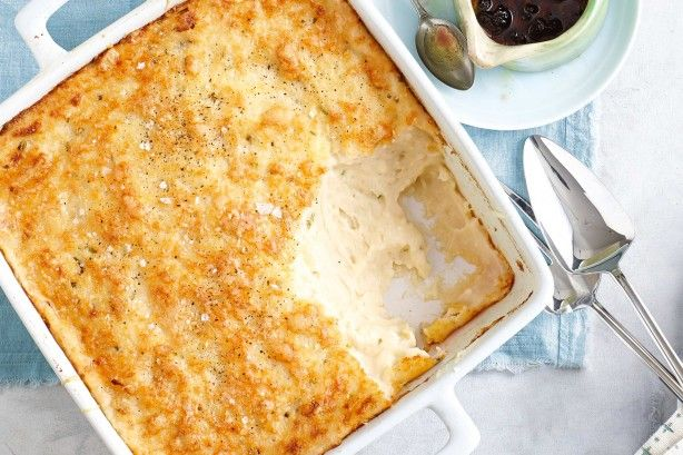Creamy mashed potato and chive bake - The gruyere cheese forms a crunchy, golden crust on top of this creamy mashed potato bake
