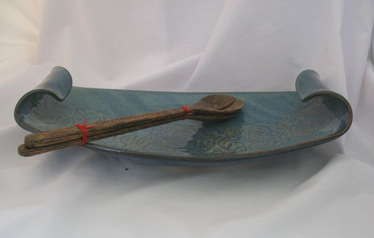 handbuilt ceramics | Hand Built Pottery Canadian Made Pottery Curled Dish Large - Blue ...