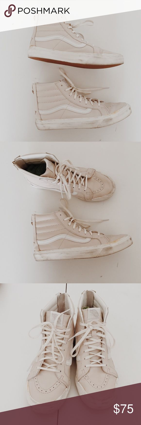 Light Pink Leather High Top Vans Light pink leather high top vans in good condition. They have scuffs on them but they are worn in so don't give losers anymore! Women's size 9.5 Vans Shoes Sneakers