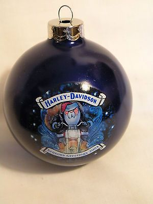 Harley-Davidson Collectibles   COLLECTABLE 2004 HARLEY DAVIDSON Glass CHRISTMAS ORNAMENT Santa ...