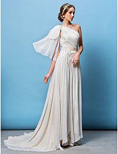 Lanting Bride® Trapèze / Princesse Petites Tailles / Grandes Tailles Robe de Mariage  Traîne Tribunal Une Epaule Mousseline de soie avec