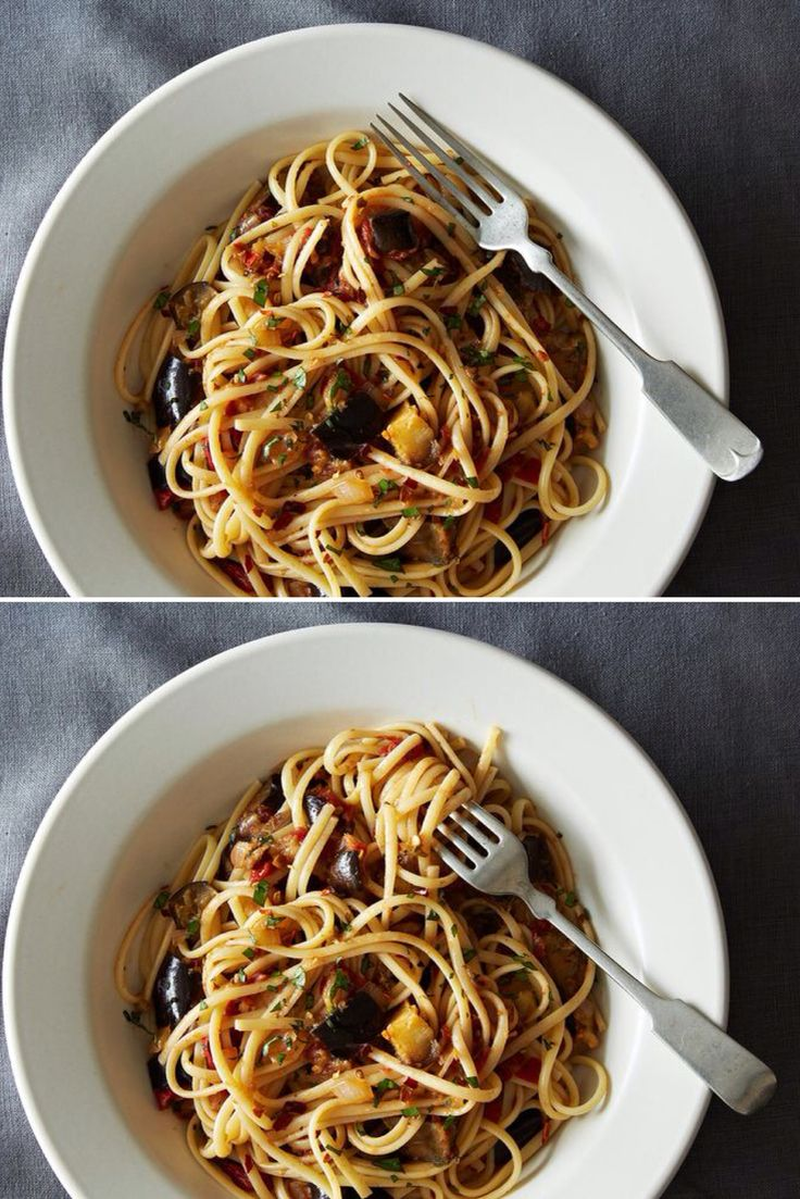 Spicy Eggplant Pasta - A hearty, filling, and simple pasta dish. Vegan.