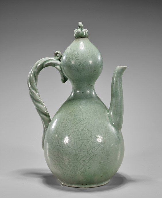 """Korean Celadon Glazed Porcelain Ewer, tear-drop form with bulb mouth, moulded rope handle and curved spout; incised floral designs to body; H: 11"""""""