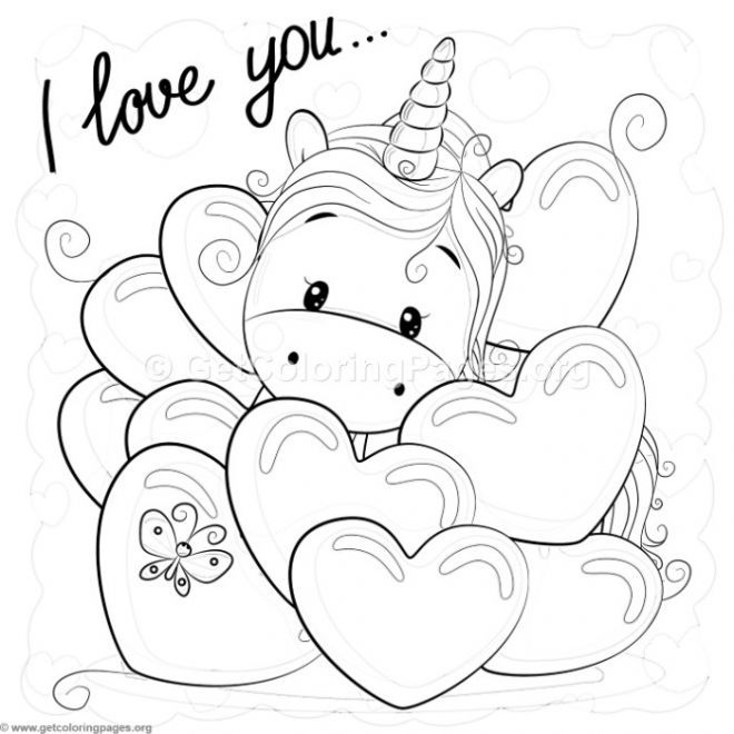 Valentine I Love You Unicorn Coloring Pages