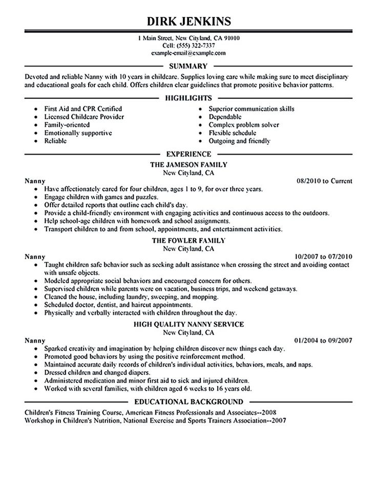 Nanny resume examples are made for those who are professional with the experience in taking care of child. A nanny is a person who is employed to take... nanny resume example