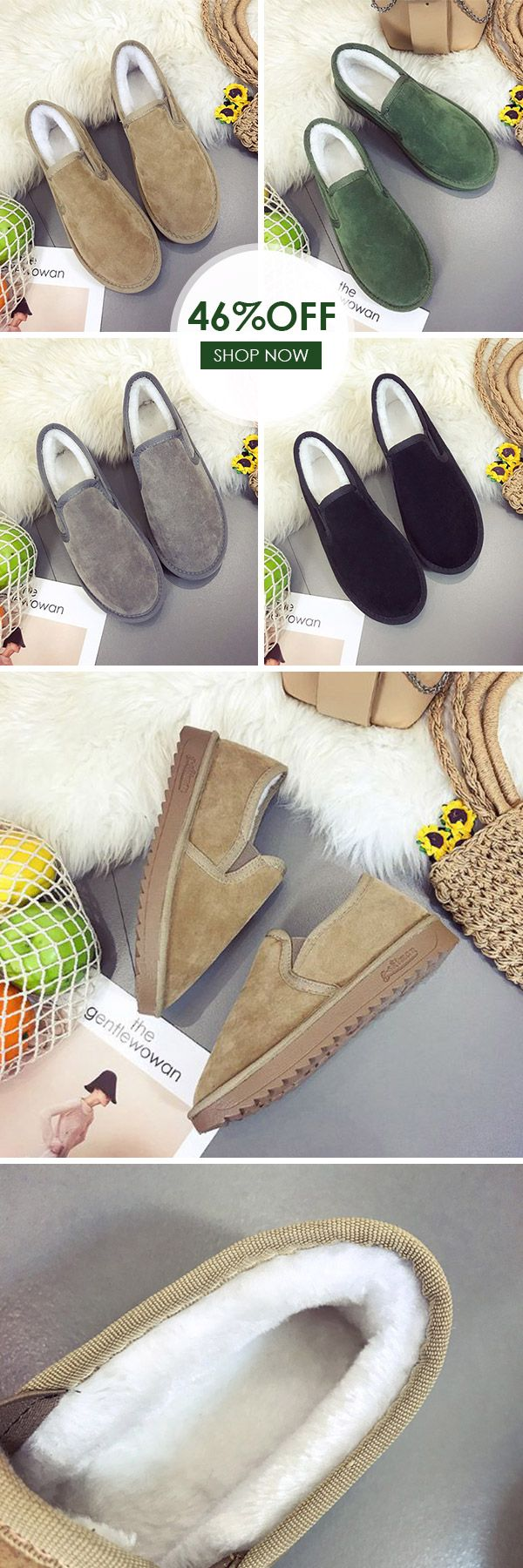 US$19.10 Winter Casual Flats Shoes Plus Fur Loafers For Women