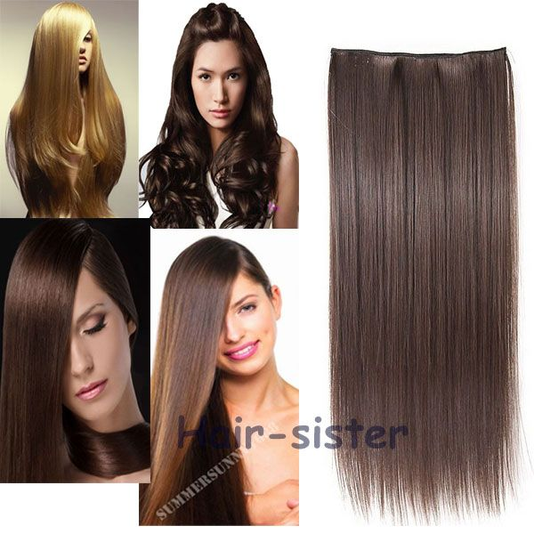 """23"""" Straight Long Clip in Hair Extension half full head 100% real natural hair Extentions Black Brown Blonde Auburn Red"""