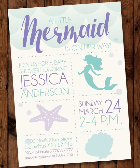Under the Sea Baby Shower, Little Mermaid Baby Shower Invitation, Mermaid Baby Shower Invitation