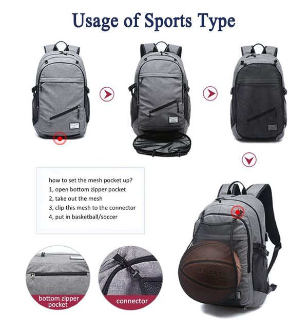 Men Canvas Multifuction Sport Bag Casual Rucksack 17 Basketball Backpack with USB Charging Port