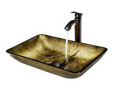 VIGO Rectangular Copper Glass Vessel Sink and Faucet Set in Oil Rubbed Bronze 1822DKK