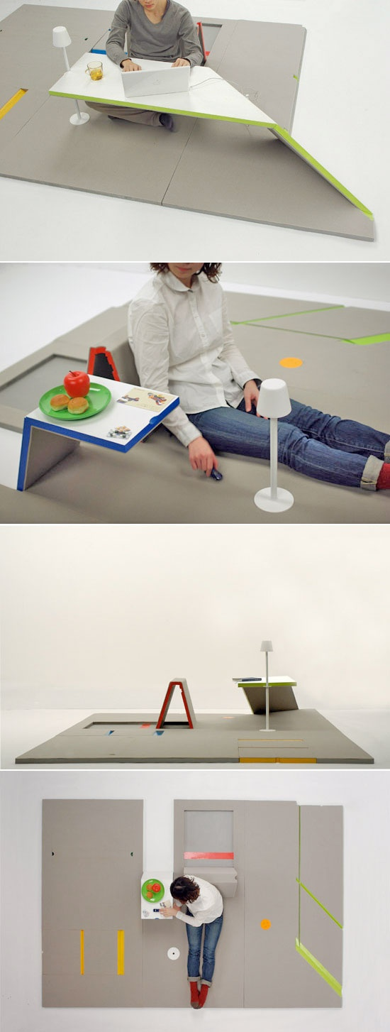 "Its creator Shin Yamashita calls ""sectional furniture"" - a rug that can transform into all you need to relax, eat, read, and browse the internet."