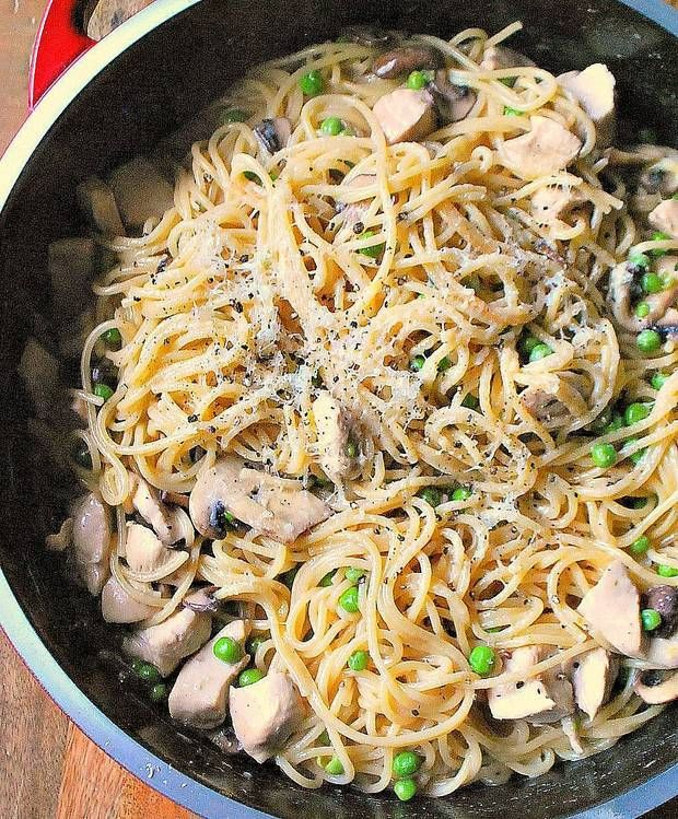 Life-Changing One-Pot Pasta with Chicken and Mushrooms.