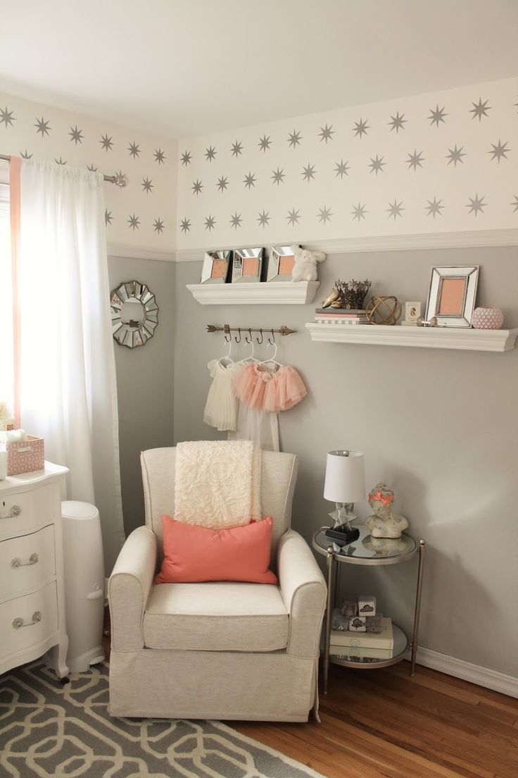 Baby room decorations - 12th And White Peach And Gray Nursery Reveal