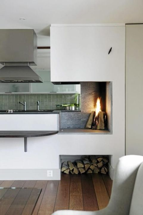 kitchen fireplace