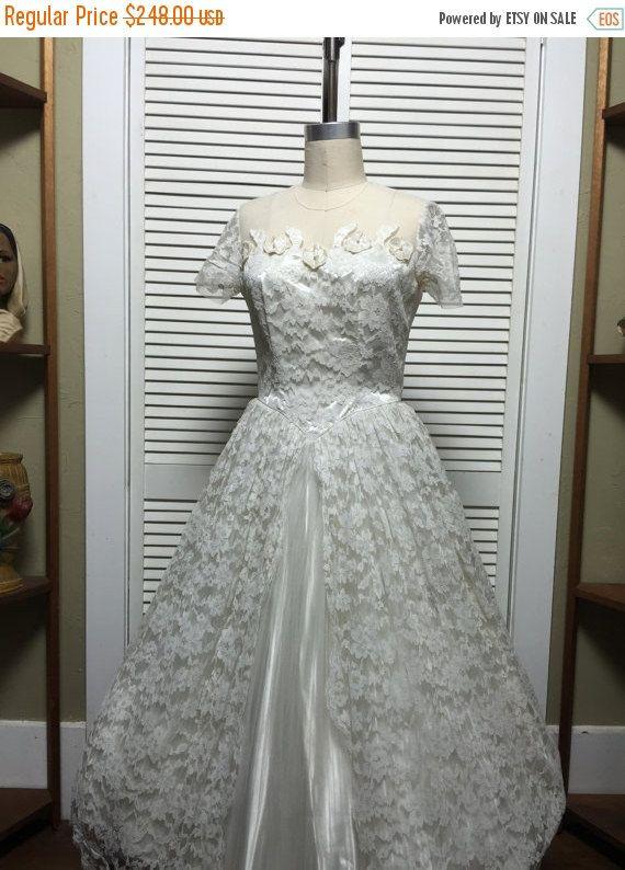 Vente des années 1950 mariage robe des années 50 thé longueur robe de taille moyenne Vintage dentelle robe de mariée jupe rockabilly Maurer d'automne