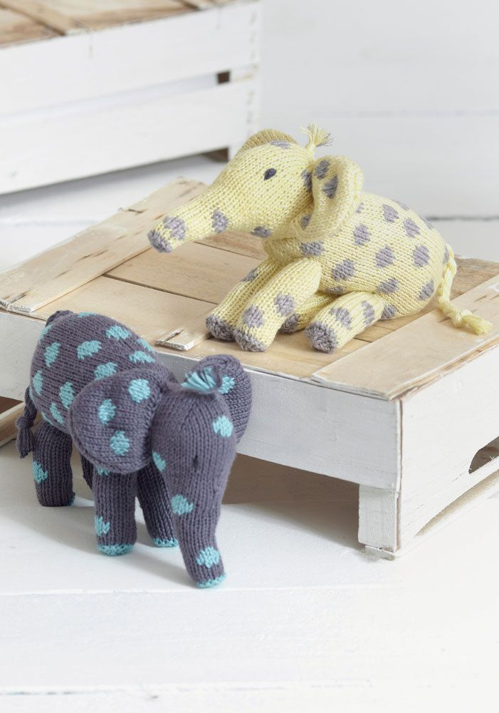 Baby Knitting Toy Elephants in Sirdar Snuggly Baby Bamboo DK - download the FREE knitting pattern on LoveKnitting!