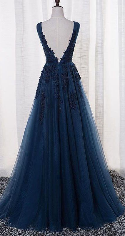 US$116.09-Elegant Tulle Ink Blue Long Prom Dress with Open Back.  https://www.newadoringdress.com/tulle-stuning-new-arrival-p331321.html.  Free Shipping! NewAdoringDress.com selected the best prom dresses, party dresses, cocktail dresses, formal dresses, maxi dresses, evening dresses and dresses for teens such as sweet 16, graduation and homecoming. #prom #dress